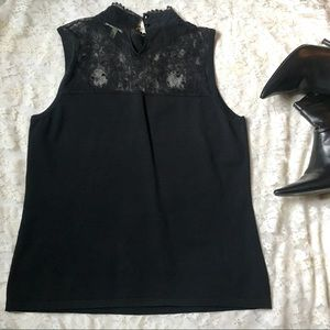 Cable and Gauge Black Lacey Top, Size Medium
